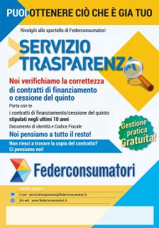 Servizio Trasparenza  rimborsi finanziamenti cessione del quinto Federconsumatori